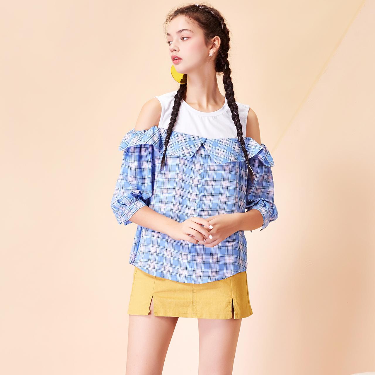 圆领露肩拼接7m2019春装新款女上衣学生小清新简约七分袖格子衬衫