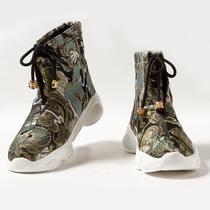 民族风复古中式龙纹刺绣官靴中国风提花情侣鞋子国潮男女高帮鞋子