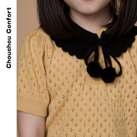 树坊童装可爱搭配小物精致手工针织蝴蝶结假领子女百搭儿童领结