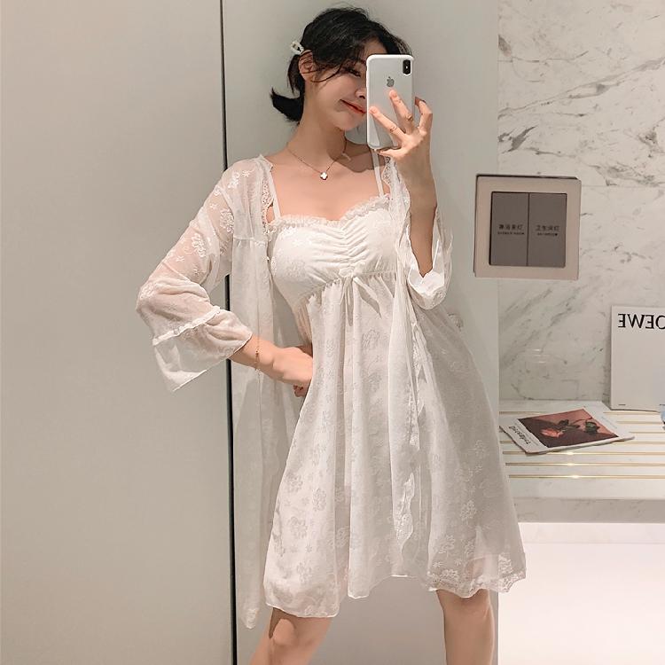 夏季睡衣女士蕾丝情趣极度诱惑性感春秋冰丝两件套带胸垫吊带睡裙