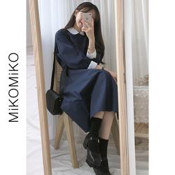 初秋裙子女中长款秋冬长袖韩版学生可爱过膝气质连衣裙到脚踝长裙