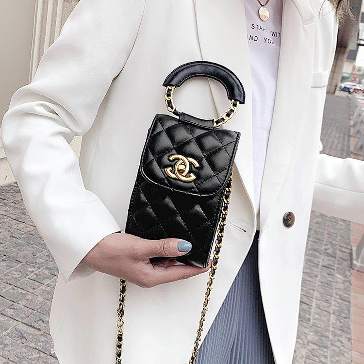 女包2020夏季新款女士包袋锁扣质感流行菱格链条包绣线斜挎手机包图片