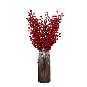 栗欧发财果浆果客厅摆件红色仿真花