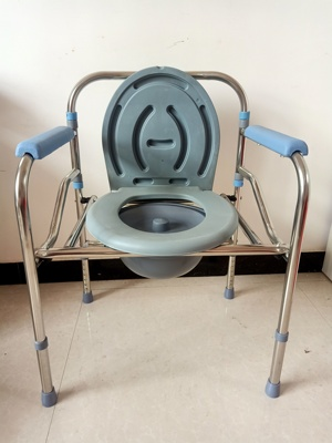 Foldable pregnant women's toilet chair household stainless steel toilet for the elderly portable mobile toilet bath chair cylinder type