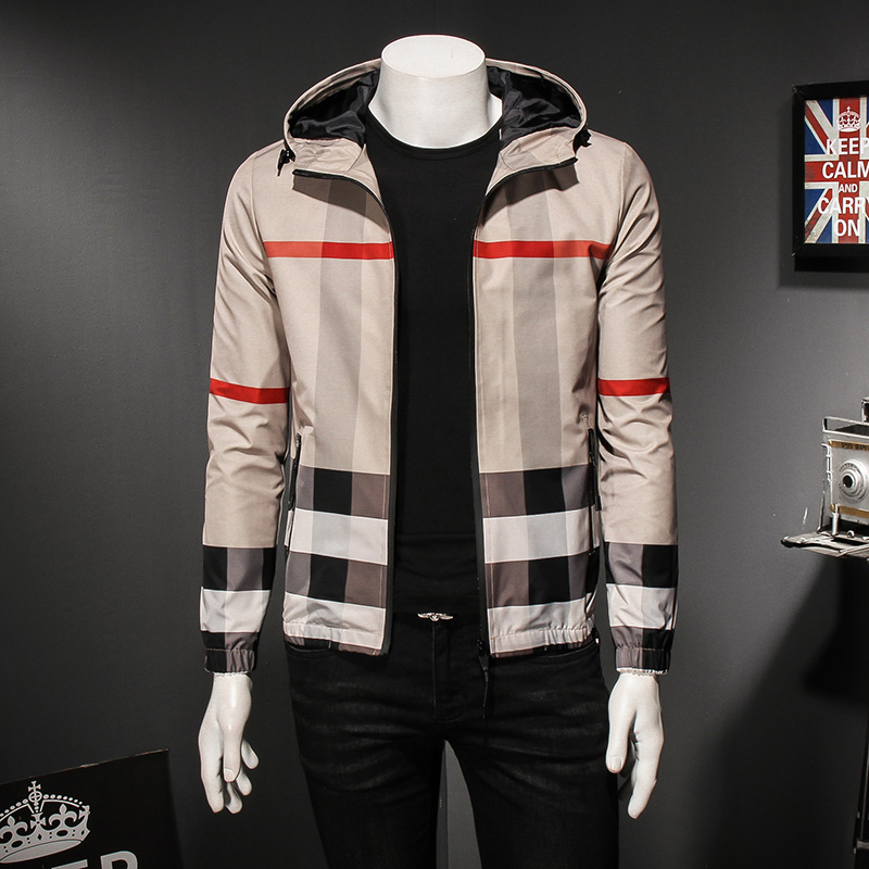 Striped Plaid print large hooded mens jacket European station spring and autumn new slim fit leisure trend mens jacket