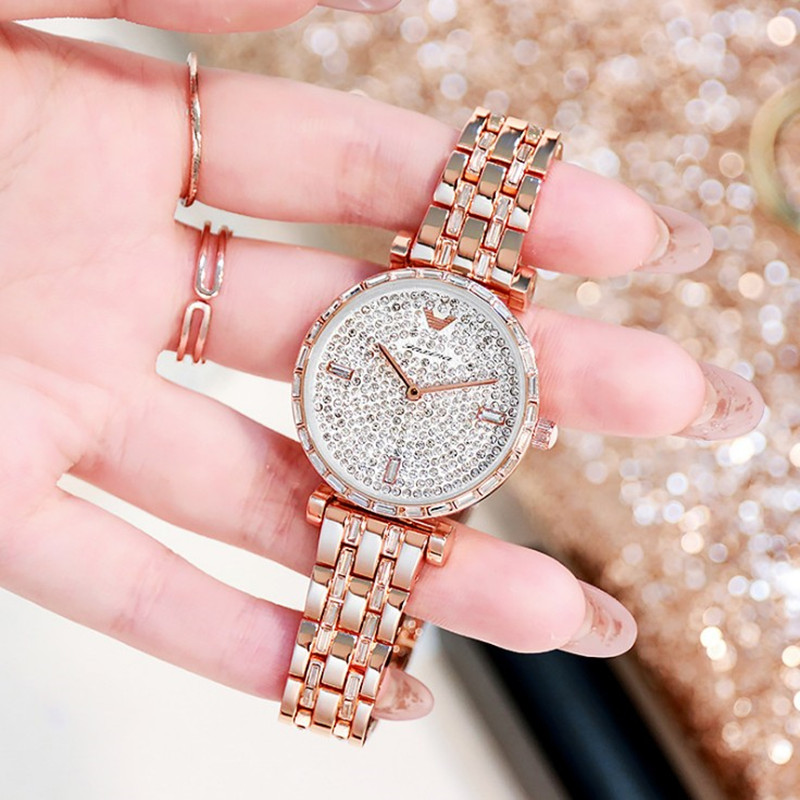新款镶钻满天星超薄手表女大气时尚潮流防水百搭气质钢带时装女表