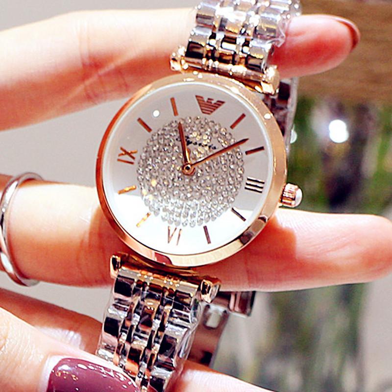 手表女防水时尚潮流轻奢法国小众气质水钻满天星女表钢带少女手表
