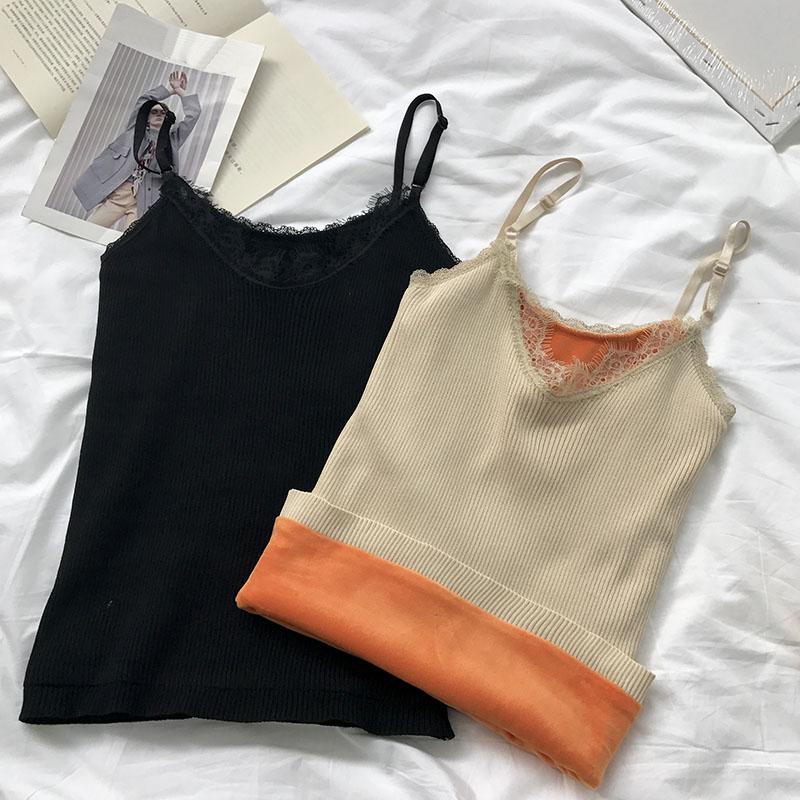 女装2018新款秋冬韩版显瘦修身加绒加厚保暖睫毛蕾丝打底吊带背心