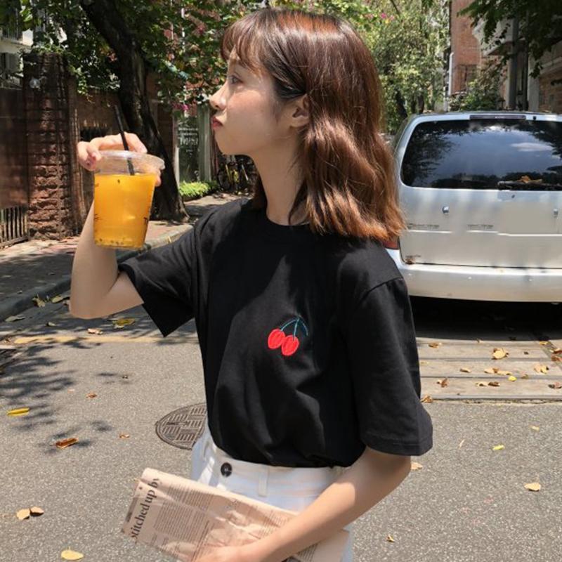 夏季女装韩版可爱刺绣短袖t恤学生宽松显瘦后背蝴蝶结小心机上衣