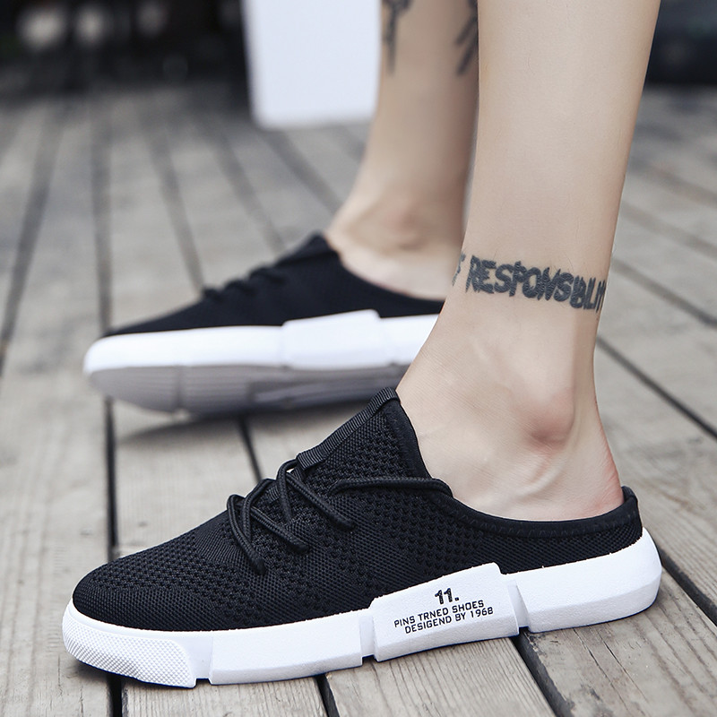 Lazy Doudou shoes mens rootless, heel less, half thong, blain shoes, pattern, knitted net shoes, can step on canvas shoes in summer
