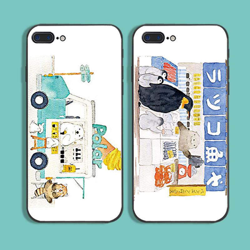 日系北极熊卡通插画iphoneXsMax手机壳可爱苹果7硅胶8plus软壳6s