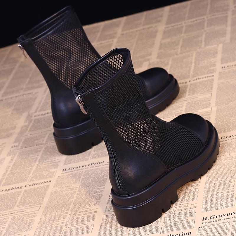 真皮短靴女厚底马丁靴2021新款春夏薄款平底网纱凉靴百搭透气靴子
