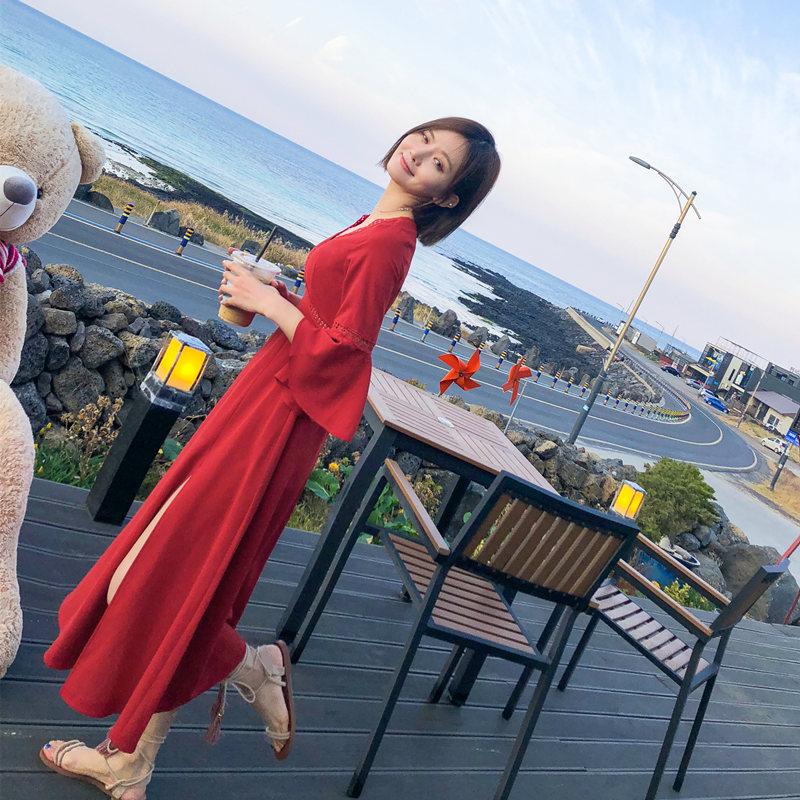 热销37件假一赔三泰国普吉岛海南三亚沙滩裙女海边度假长裙子2019新款红色连衣裙夏