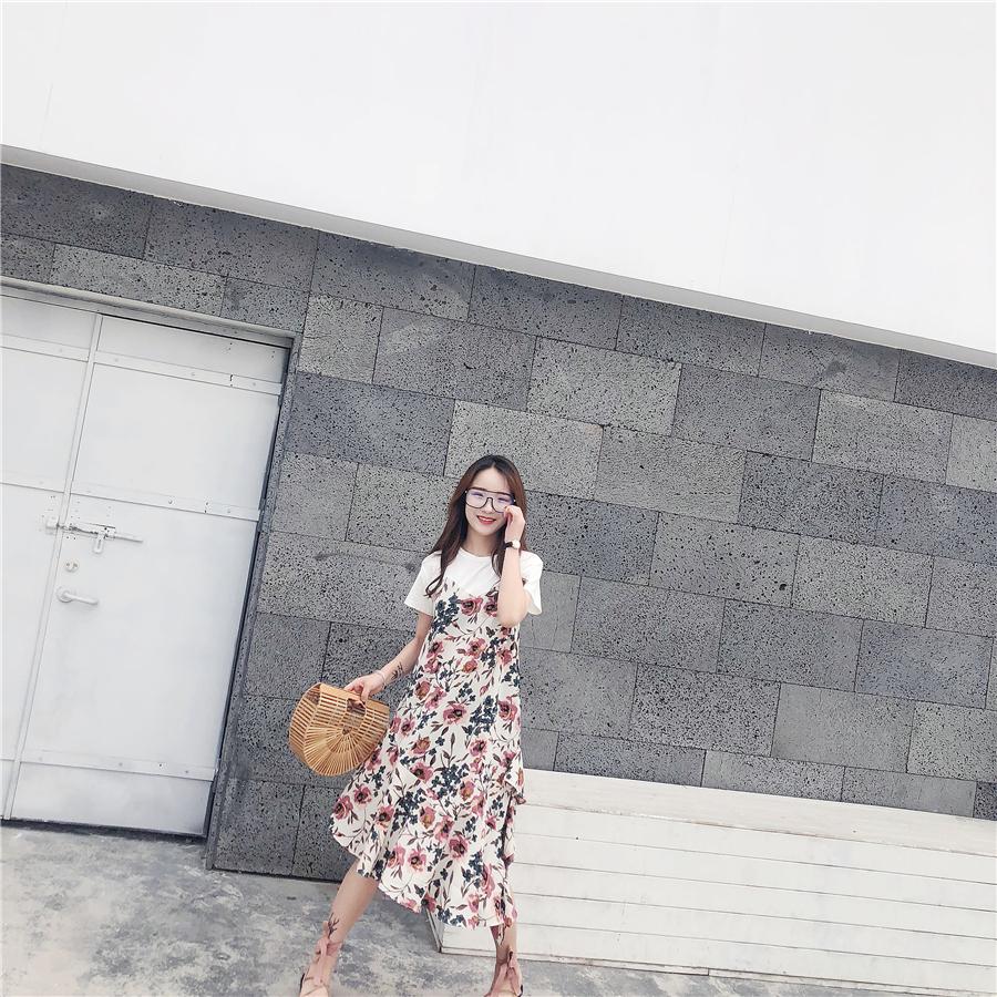 2018夏裝新款假兩件拼接短袖小碎花連衣裙雪紡不規則荷葉邊中長裙