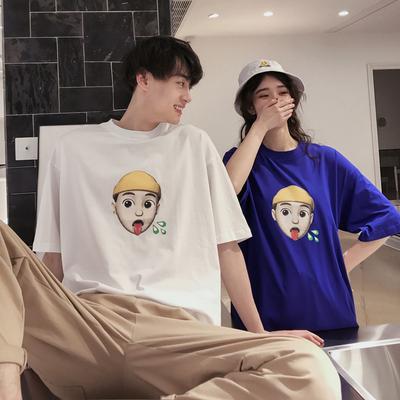 Y04-P38-2019情侣装港风夏装宽松印花简约男女情侣短袖t恤