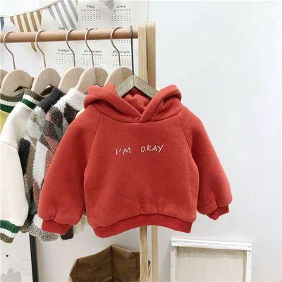 宝宝加绒卫衣连帽男童加厚外套婴幼儿冬装小童打底衫女童保暖上衣