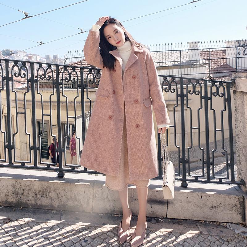 夏奈可可2018流行大衣韩版毛呢中长款秋冬新款加厚清新人字纹大衣