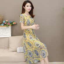 Chiffon Popular Dresses Ladies Summer 2019 New Mid-long and High-end Style Slender Flower Dresses