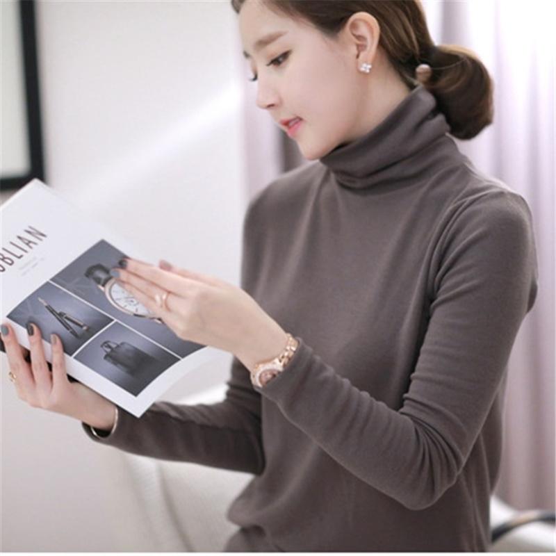 2021春季新款韩版高领长袖t恤女纯棉百搭修身显瘦纯色套头打底衫T