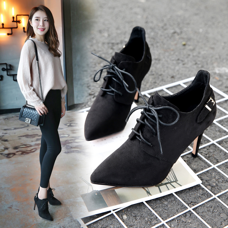 2019 new spring boots pointed Martin boots suede low top short tube womens boots slim heels high heels fashion boots