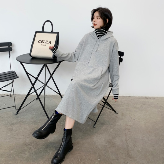 Korean loose fake two piece high neck Hoodie long sweater dress womens knee length autumn winter Plush thickened coat
