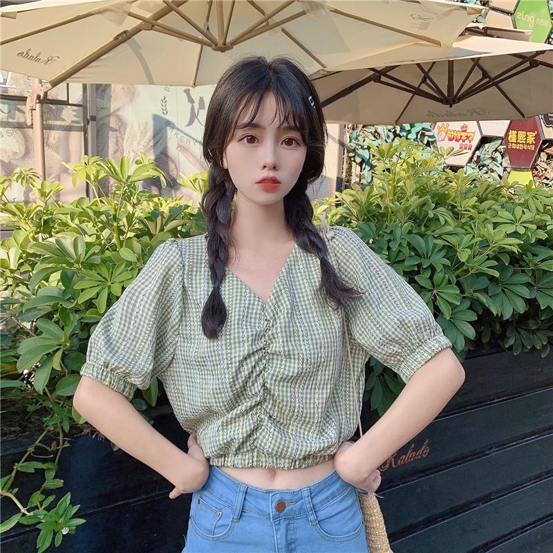 控價加5 實拍新款韓版復古港風短袖小格子泡泡袖襯衫 3534#