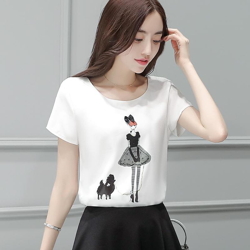 雪纺衫女2018夏季新款短袖印花超仙甜美上衣修身显瘦圆领打底小衫