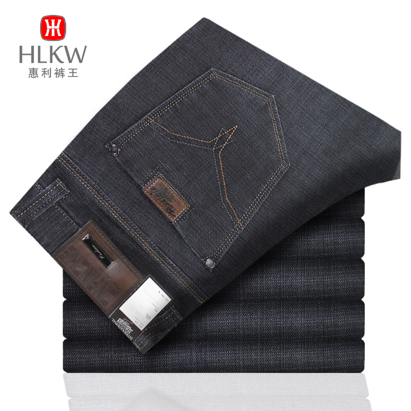 Guider mens thick jeans winter new micro elastic jeans high end business jeans mens trousers