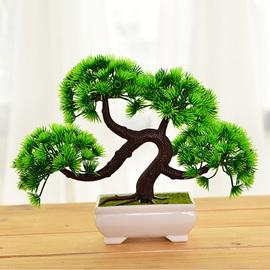 迎客松摆件 仿真植物盆栽室内绿植小盆景客厅假花摆设家居装饰品图片