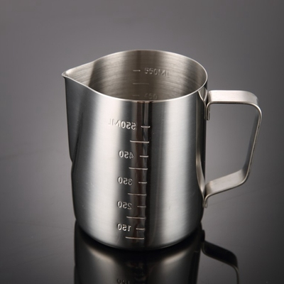 304 stainless steel pointed mouth etched cup with lid, graduated measuring cup, coffee etched cylinder, milk foam cup, coffee pot