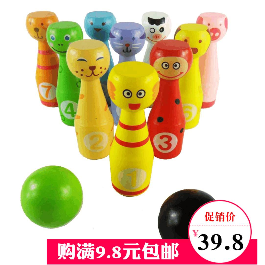 Большой размер древесины система животное боулинг ребенок головоломка обучения в раннем возрасте игрушка отцовство игра подарок игрушка