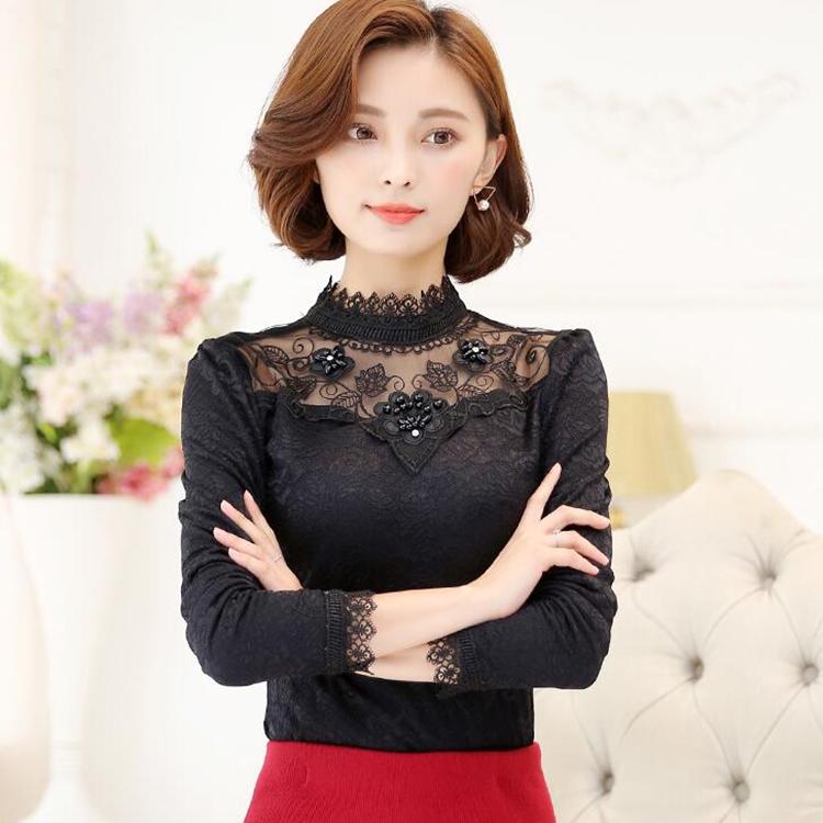 Lace bottomed shirt womens long sleeve 2017 spring small shirt shirt Korean top large size slim thin high neck lace shirt
