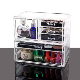 透明化妆品收纳盒办公桌面透明创意卫生间抽屉式储物盒