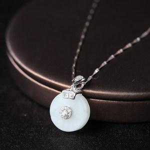 纯银镶嵌玉石挂件女士30翡翠吊坠