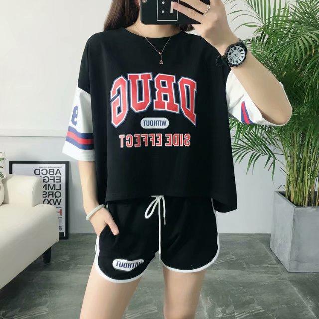 夏季韩版休闲DRUG字母印花宽松短袖短裤两件套休闲套装百搭运动女