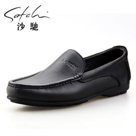 沙馳真皮男鞋套腳商務休閑皮鞋男英倫低幫透氣軟皮軟底皮鞋輕便鞋圖片