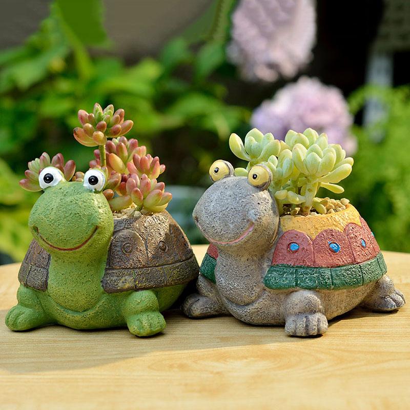 创意呆呆龟秒秒蛙多肉花盆花器乌龟花盆摆件花园装饰创意花盆