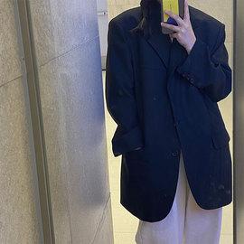 英子oni 定制 黑色西装外套女2021春季款vintage休闲宽松廓形西服