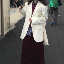 英子oni  少女感搭配奶油味白色小西装外套女秋款vintage复古西服