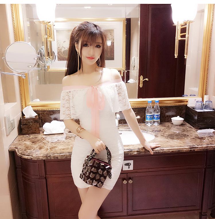 清纯yy网络直播服装美女装主播上镜衣服一字领露肩甜美公主连衣裙