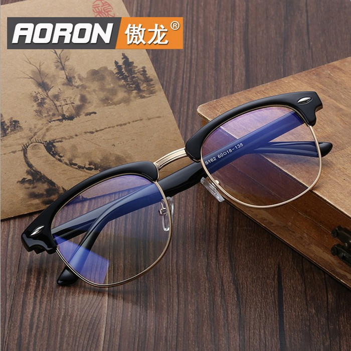 Anti radiation glasses, anti blue light computer goggles, mens and womens flat lens, Korean eyeglass frame, retro toad lens