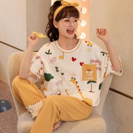睡衣女夏季纯棉可爱韩版短袖长裤薄款两件套装学生休闲春秋家居服