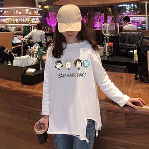 7273(65棉35聚脂钎维)实拍春夏季时尚新款长袖t恤衫韩版宽松