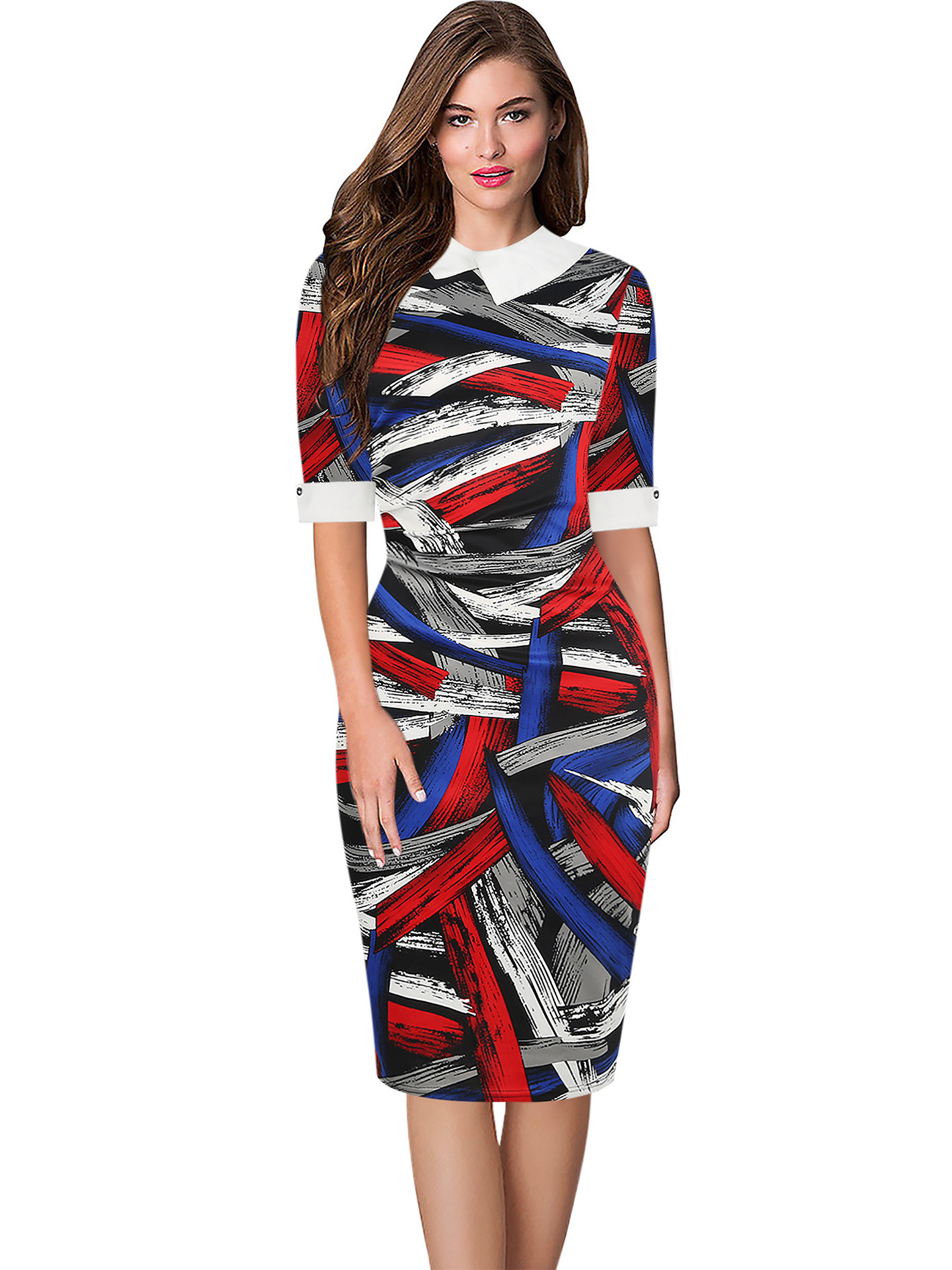 Quick sell new 5-sleeve doll neck color graffiti hip and knee Plaid professional womens dress