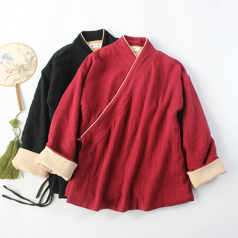 Zenyi tea service female autumn and winter Tang suit cotton and linen improved Hanfu tea man service female meditation service China