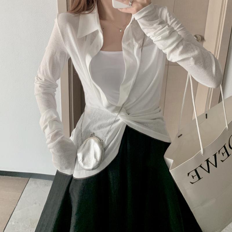 实拍实价 纯色不规则扭结长袖衬衫T恤潮修身百搭显瘦上衣