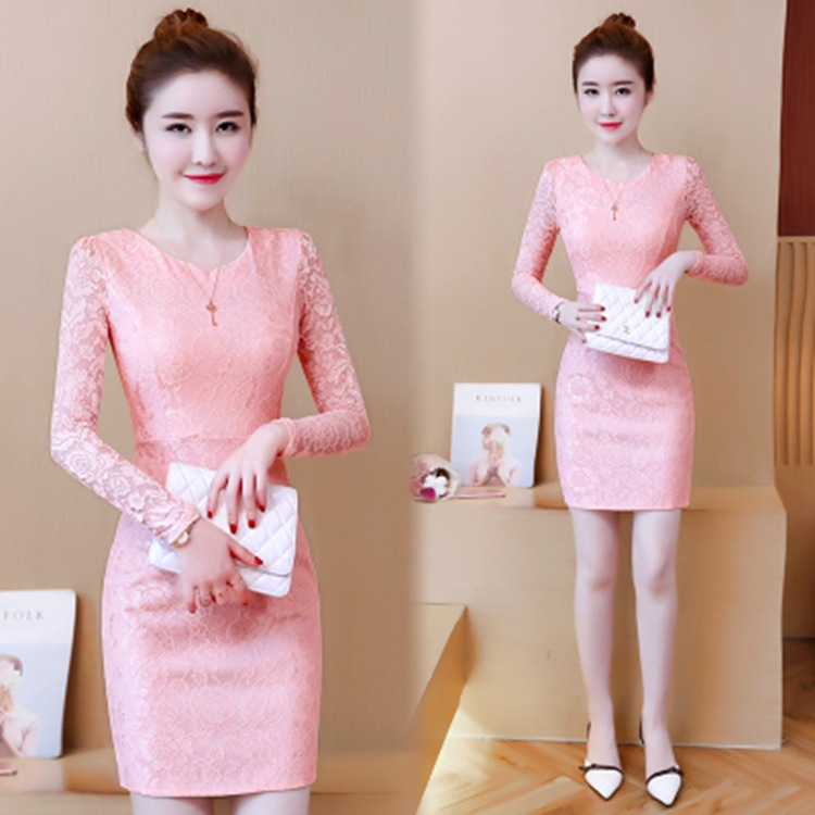 New style, slim, hollow, medium length, slim, close waist, sexy pencil temperament, lace round neck, long sleeve dress
