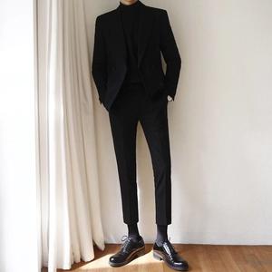 春秋韩版双排扣西服套装男修身帅气休闲商务潮流英伦结婚小西