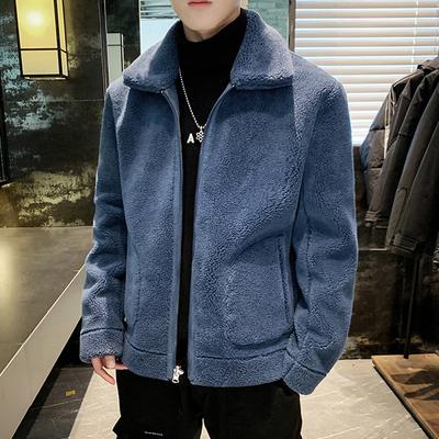 [佳乐]2019新款冬装男士两面穿羊羔毛夹克外套 A011-D220*P135 蓝