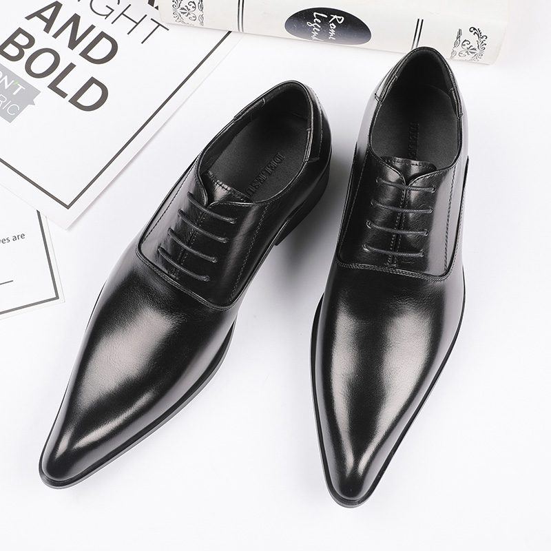 2021 office business dress pointed lace up high heel mens real shoes wedding performance dress shoes